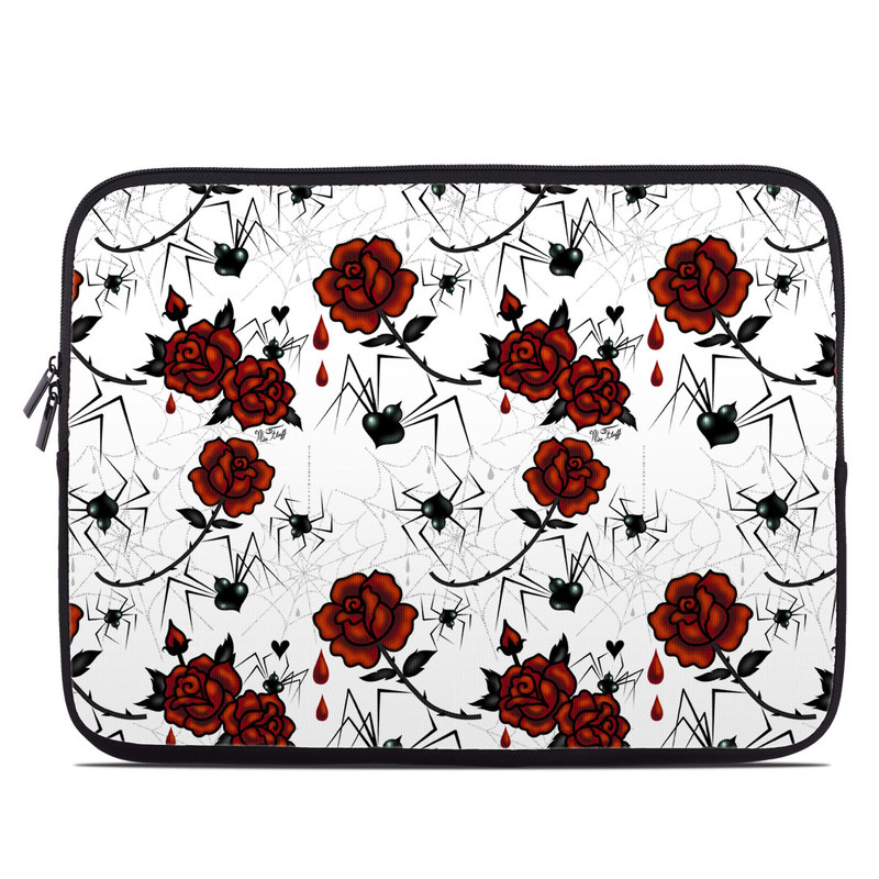 Laptop Sleeve design of Red, Pattern, Flower, Plant, Design, Floral design, Petal, Coquelicot, Wildflower, Rose with black, white, red colors