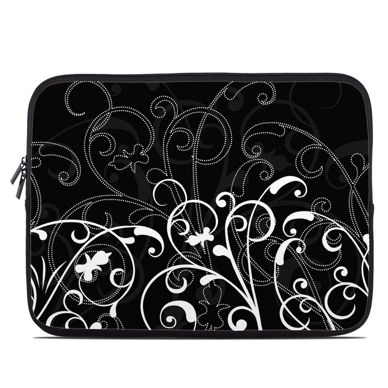 Laptop Sleeve design of Black, Pattern, Black-and-white, Monochrome photography, Design, Monochrome, Circle, Floral design, Font, Graphic design with black, white colors