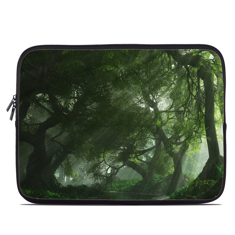 Laptop Sleeve design of Nature, Tree, Natural landscape, Green, Natural environment, Old-growth forest, Vegetation, Forest, Jungle, Nature reserve with green, black colors