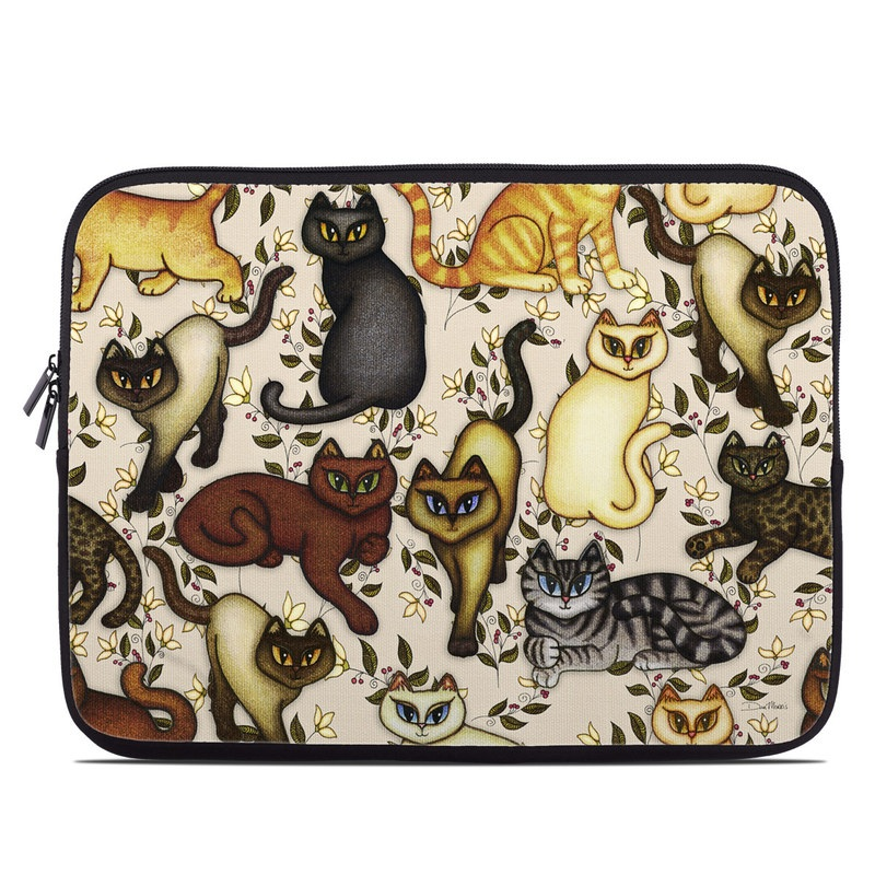 Laptop Sleeve design of Cartoon, Illustration, Design, Pattern, Art, Cat, Fawn, Tail, Animal figure with black, brown, yellow, orange, green colors