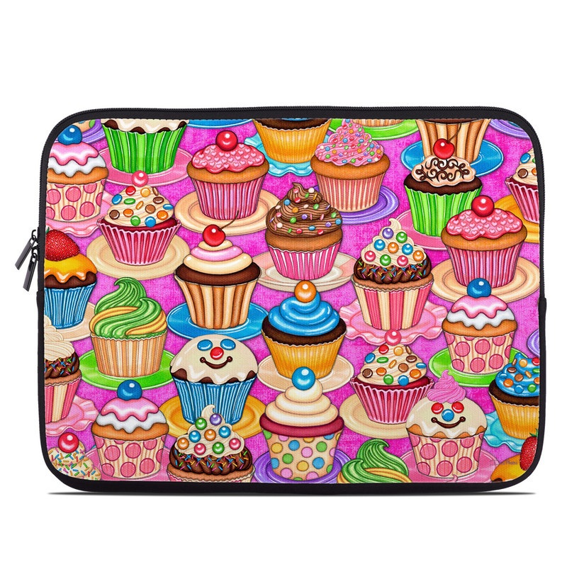 Laptop Sleeve design of Cupcake, Baking cup, Icing, Baking, Cake decorating, Dessert, Cake, Cake decorating supply, Food, Sweetness with pink, green, blue, orange, yellow, brown colors