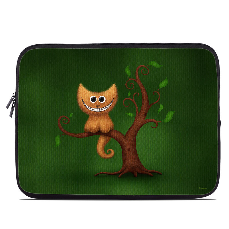 Laptop Sleeve design of Green, Animated cartoon, Cartoon, Illustration, Owl, Animation, Tree, Branch, Organism, Plant with green, brown, orange colors