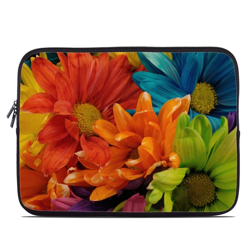 Laptop Sleeve design of Flower, Petal, Orange, Cut flowers, Yellow, Plant, Bouquet, Floral design, Flowering plant, Gerbera with red, green, black, blue colors