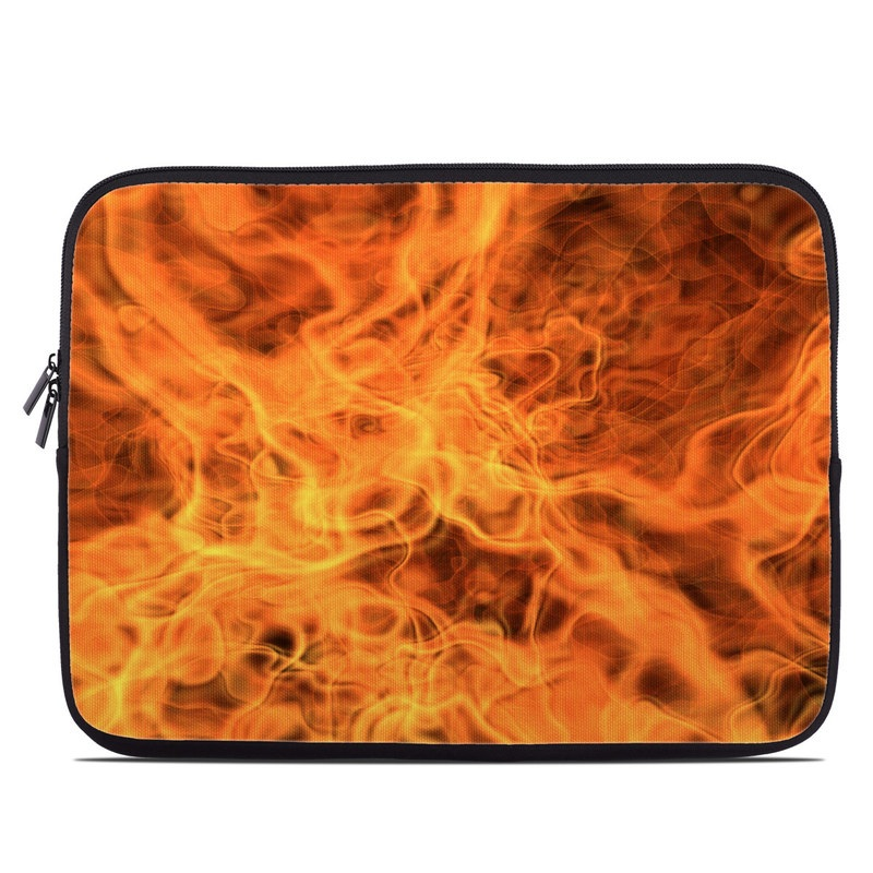 Laptop Sleeve design of Flame, Fire, Heat, Orange with red, orange, black colors
