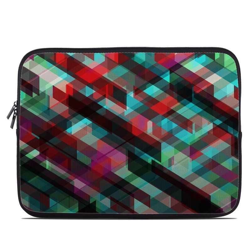 Laptop Sleeve design of Green, Pattern, Magenta, Purple, Orange, Line, Design, Textile, Plaid with black, red, green, blue, gray colors