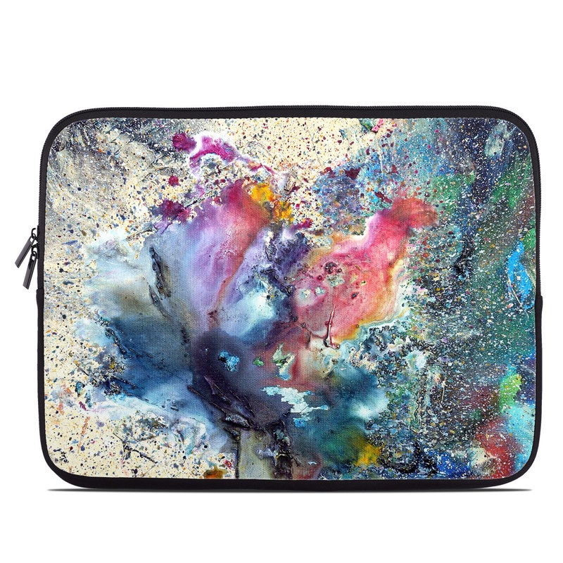 Laptop Sleeve design of Watercolor paint, Painting, Acrylic paint, Art, Modern art, Paint, Visual arts, Space, Colorfulness, Illustration with gray, black, blue, red, pink colors