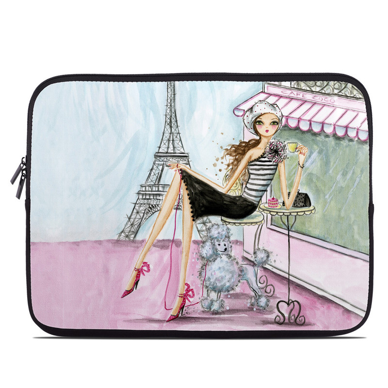Laptop Sleeve design of Pink, Illustration, Sitting, Konghou, Watercolor paint, Fashion illustration, Art, Drawing, Style with gray, purple, blue, black, pink colors