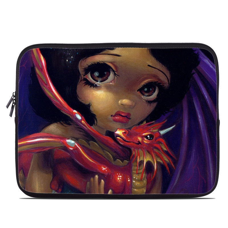 Laptop Sleeve design of Doll, Illustration, Art, Toy, Fictional character with black, red, green colors
