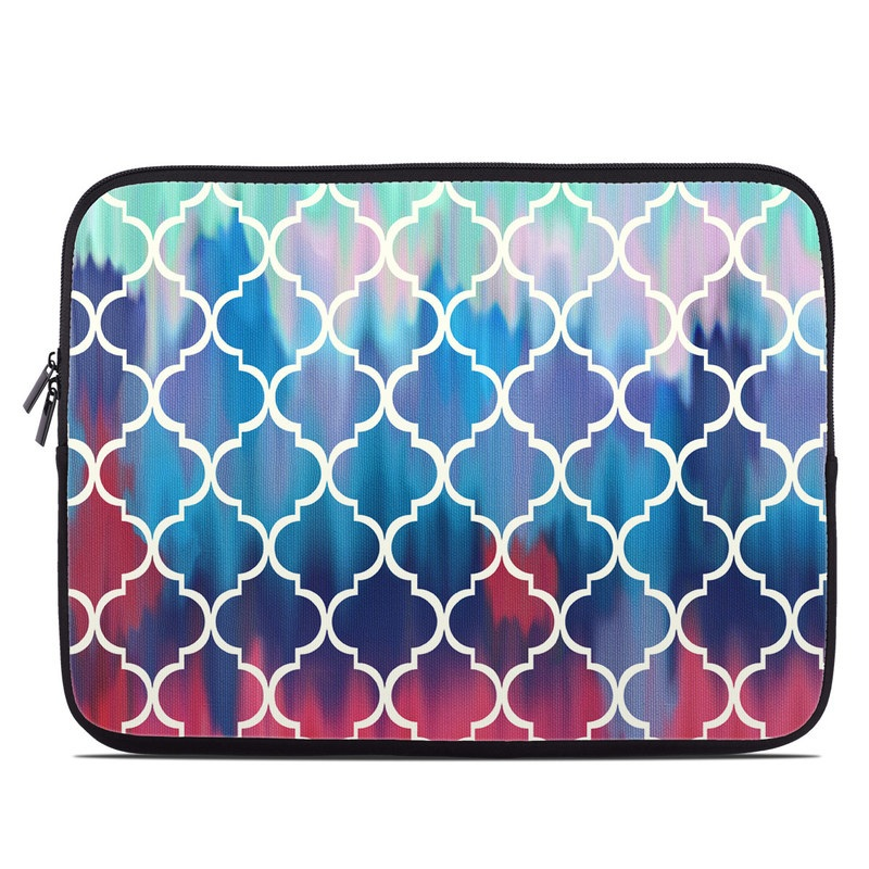 Laptop Sleeve design of Blue, Pattern, Turquoise, Aqua, Teal, Line, Symmetry, Electric blue, Design, Circle with gray, blue, yellow, black, green colors