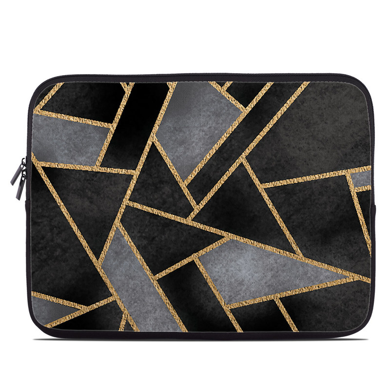 Laptop Sleeve design of Pattern, Triangle, Yellow, Line, Tile, Floor, Design, Symmetry, Architecture, Flooring with black, gray, yellow colors