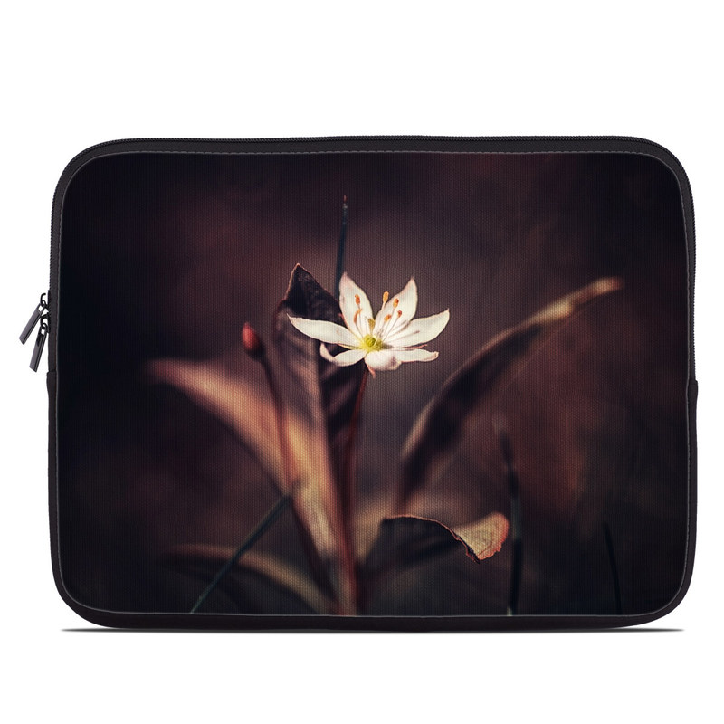 Laptop Sleeve design of Flower, Yellow, Light, Plant, Sky, Still life photography, Wildflower, Petal, Darkness, Spring with black, red colors