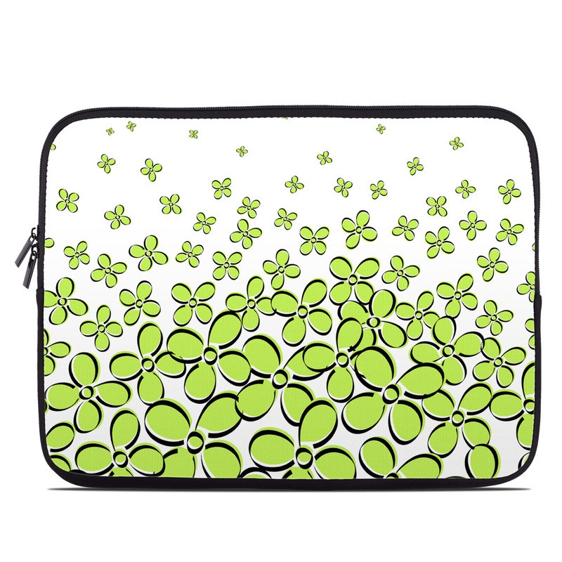 Laptop Sleeve design of Green, Leaf, Pattern, Yellow, Line, Plant, Design, Circle with white, green, gray, black colors