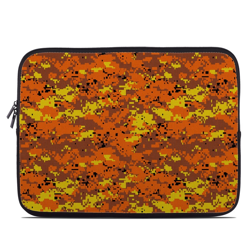 Laptop Sleeve design of Orange, Yellow, Leaf, Tree, Pattern, Autumn, Plant, Deciduous with red, green, black colors