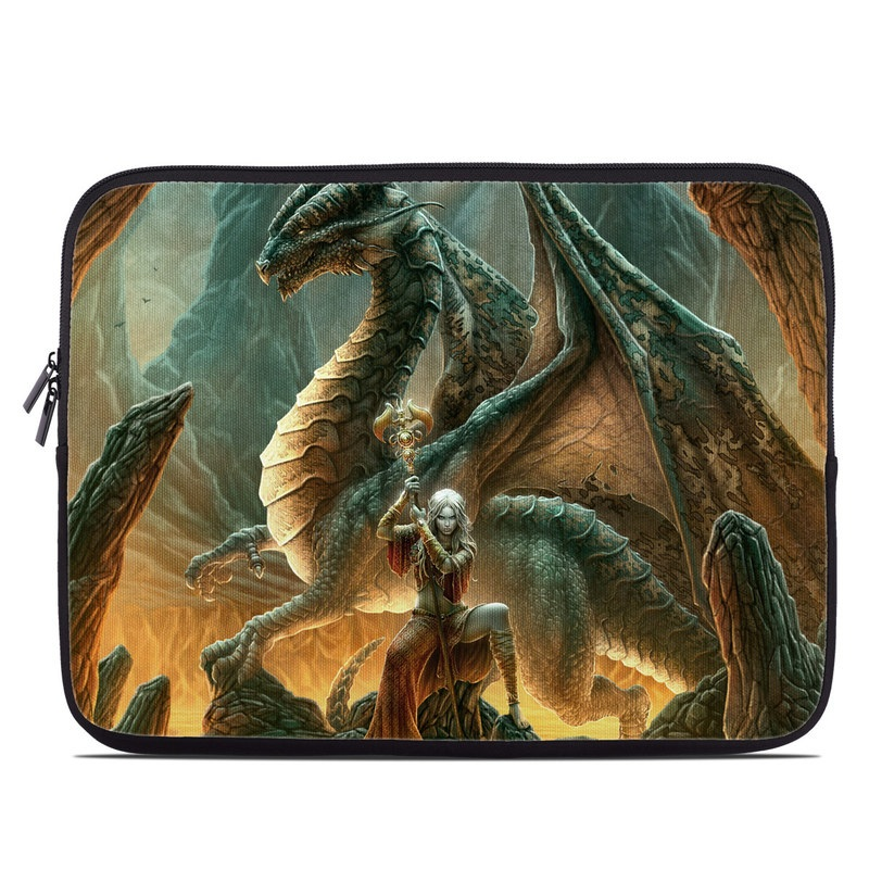 Laptop Sleeve design of Dragon, Cg artwork, Mythology, Fictional character, Mythical creature, Art, Illustration, Cryptid, Sculpture, Demon with black, green, red, gray, blue colors