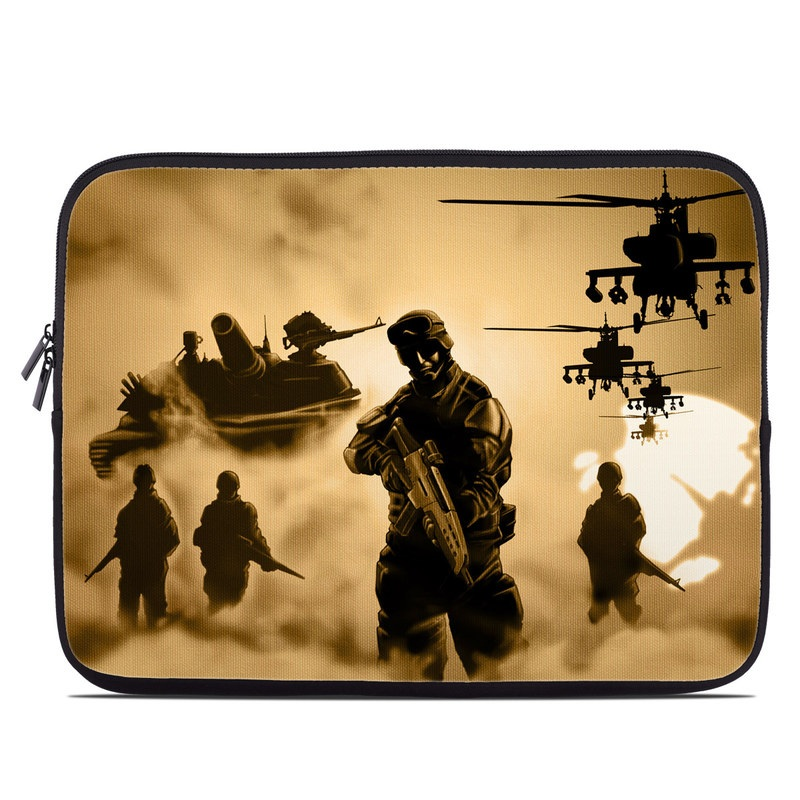 Laptop Sleeve design of Soldier, Army men, Military organization, Infantry, Army, Military, Military person, Military uniform, Marines, Military officer with green, black, pink, red, gray, yellow colors