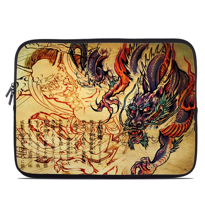 Laptop Sleeve design of Illustration, Fictional character, Art, Demon, Drawing, Visual arts, Dragon, Supernatural creature, Mythical creature, Mythology with black, green, red, gray, pink, orange colors
