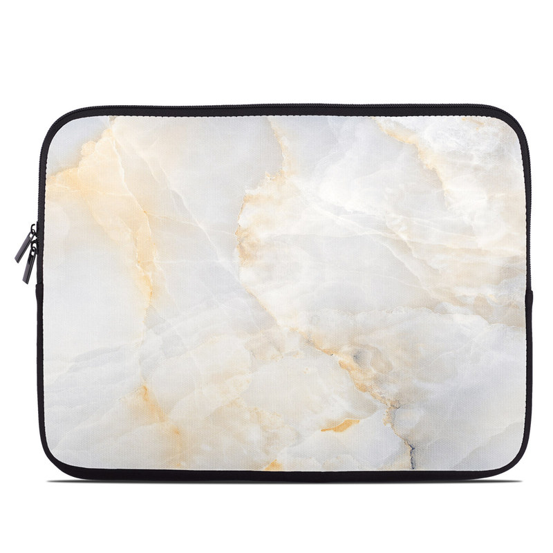 Laptop Sleeve design of White, Textile, Flooring, Marble, Paper, Pattern, Fashion accessory, Tile with white, orange, black, yellow colors