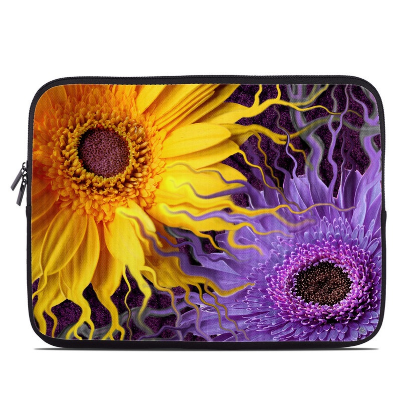 Laptop Sleeve design of Purple, Flower, Yellow, Violet, Sunflower, Petal, Fractal art, Plant, sunflower, Art with black, purple, orange, green, red, blue colors