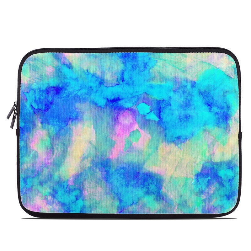 Laptop Sleeve design of Blue, Turquoise, Aqua, Pattern, Dye, Design, Sky, Electric blue, Art, Watercolor paint with blue, purple colors
