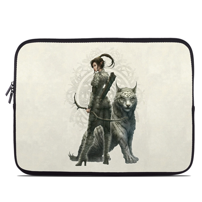Laptop Sleeve design of Illustration, Fictional character, Drawing, Woman warrior, Art, Mythology, Sketch with gray, black, pink, yellow, green colors
