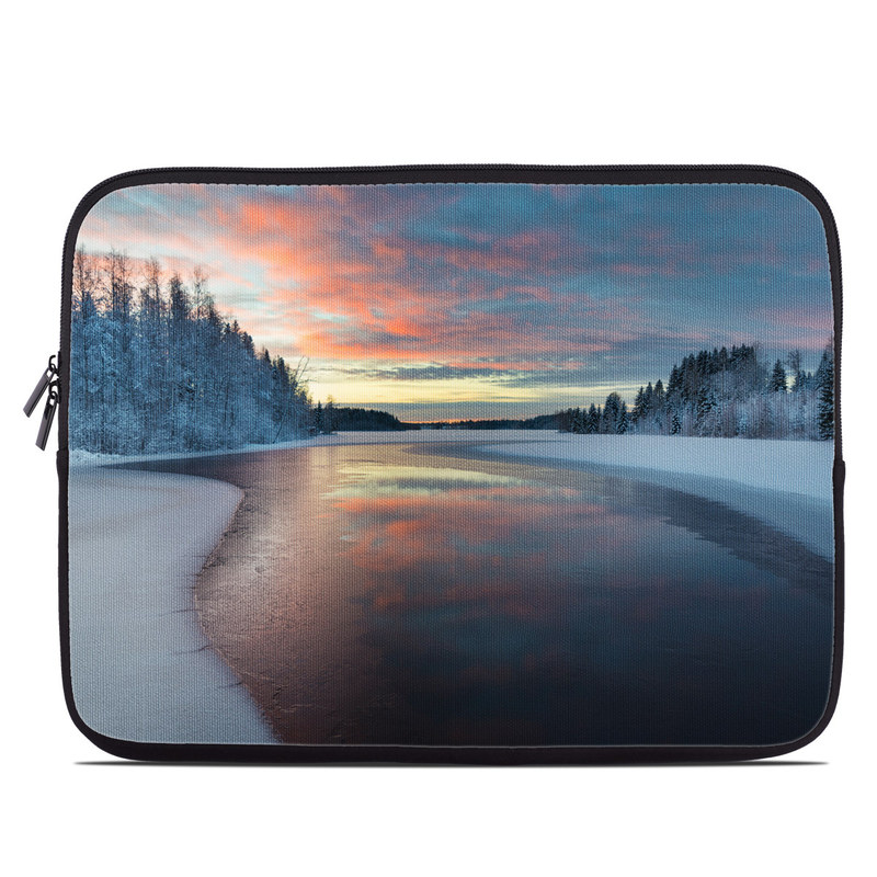 Laptop Sleeve design of Sky, Nature, Winter, Natural landscape, Freezing, Snow, Atmospheric phenomenon, Water, Cloud, Evening with white, blue, orange, yellow, red colors