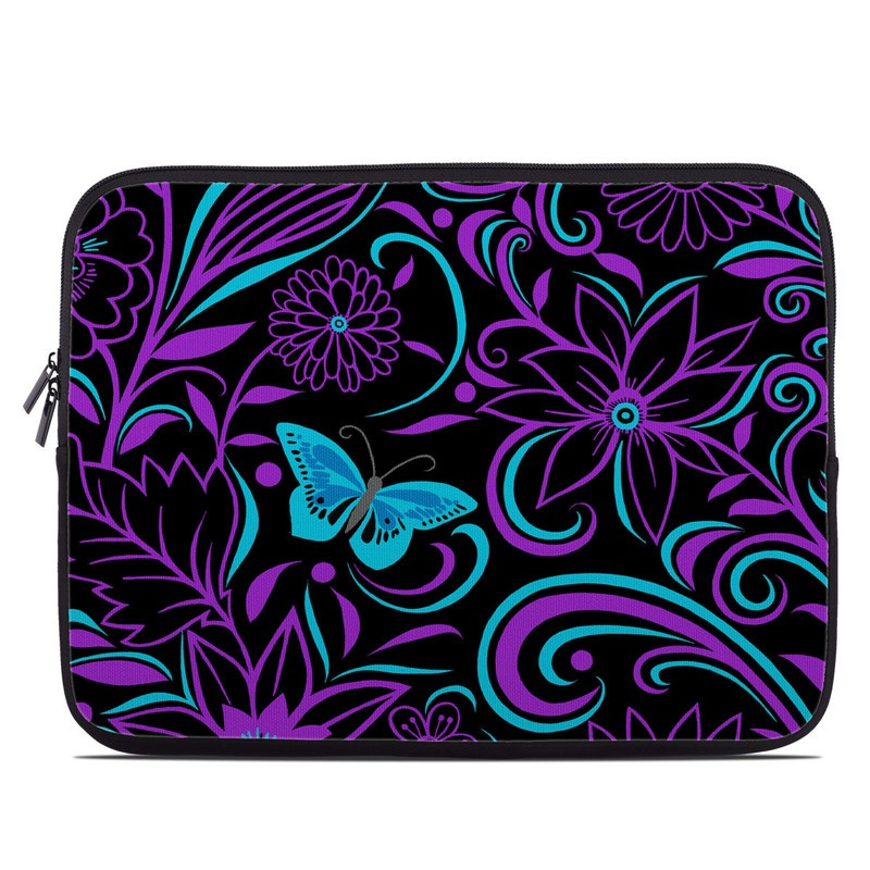 Laptop Sleeve design of Pattern, Purple, Violet, Turquoise, Teal, Design, Floral design, Visual arts, Magenta, Motif with black, purple, blue colors