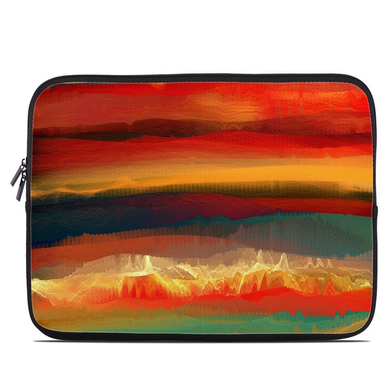 Laptop Sleeve design of Sky, Red, Horizon, Afterglow, Orange, Painting, Acrylic paint, Watercolor paint, Sunset, Geological phenomenon with red, blue, green, yellow, orange, white colors