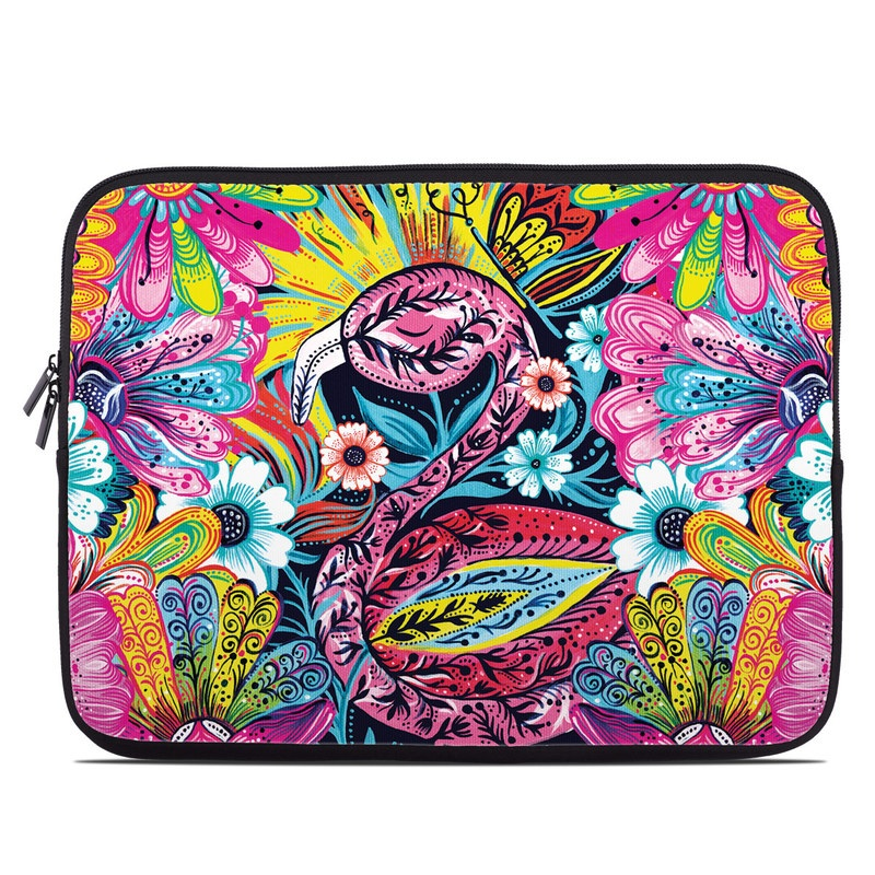 Laptop Sleeve design of Psychedelic art, Pattern, Visual arts, Art, Design, Textile, Illustration, Plant, Graphic design, Drawing with pink, yellow, black, blue, white colors