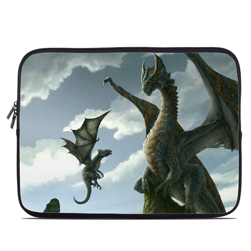 Laptop Sleeve design of Dragon, Cg artwork, Fictional character, Mythical creature, Mythology, Extinction, Cryptid, Illustration, Games, Massively multiplayer online role-playing game with black, gray, blue, white, purple colors