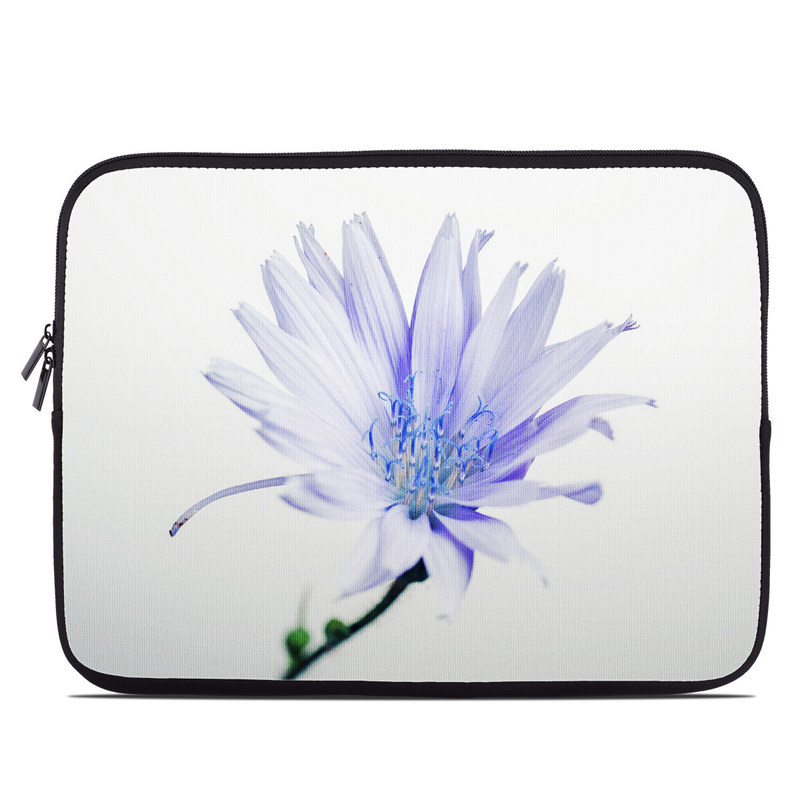 Laptop Sleeve design of Blue, Flower, Plant, Petal, Close-up, Macro photography, Flowering plant, Herbaceous plant, Wildflower, Photography with gray, white, yellow colors