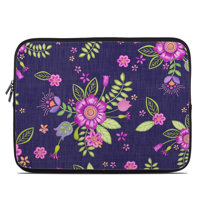 Laptop Sleeve design of Pink, Pattern, Magenta, Purple, Violet, Floral design, Lilac, Textile, Visual arts, Pedicel with black, gray, purple, green, blue colors