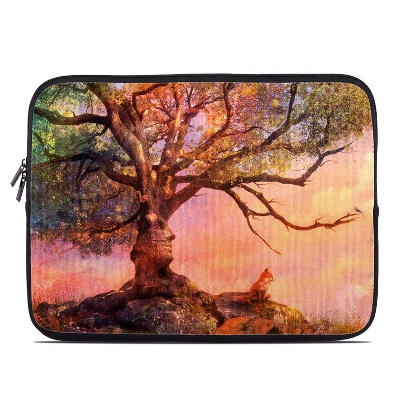 Laptop Sleeve design of Nature, Tree, Sky, Natural landscape, Branch, Leaf, Woody plant, Trunk, Landscape, Plant with pink, red, black, green, gray, orange colors