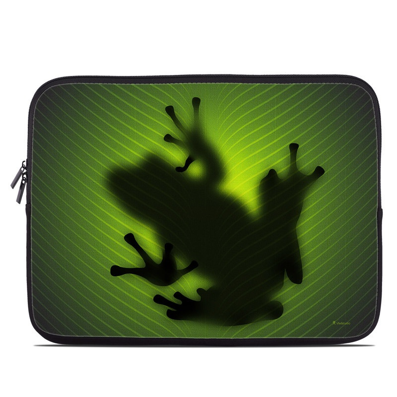 Laptop Sleeve design of Green, Frog, Tree frog, Amphibian, Shadow, Silhouette, Macro photography, Illustration with green, black colors