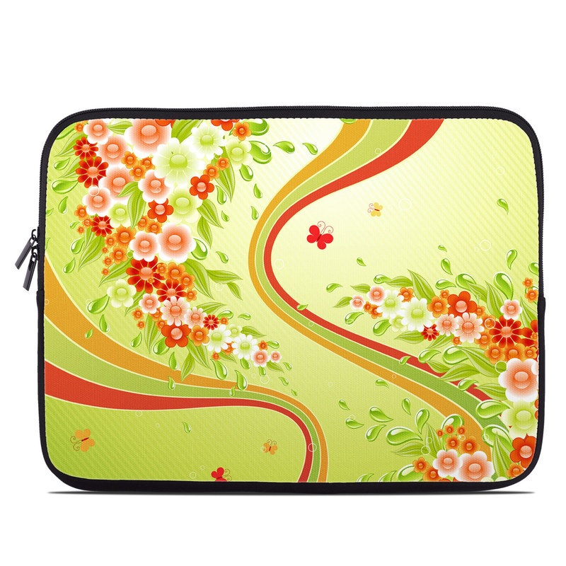 Laptop Sleeve design of Botany, Floral design, Plant, Illustration, Wildflower, Flower, Pattern, Wallpaper, Clip art, Art with green, yellow, orange, red, pink colors