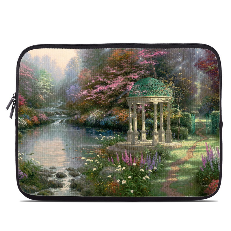 Laptop Sleeve design of Nature, Natural landscape, Tree, Botany, Water, Garden, Gazebo, Spring, Plant, Reflection with black, gray, green, red, purple colors