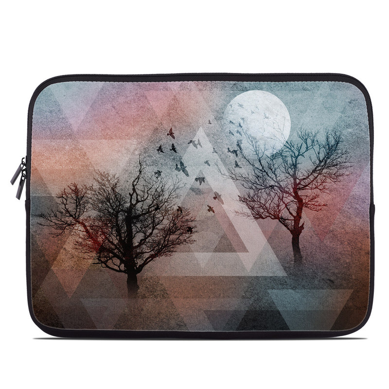 Laptop Sleeve design of Sky, Tree, Red, Natural landscape, Branch, Watercolor paint, Painting, Visual arts, Art, Illustration with gray, black, red, blue, green colors