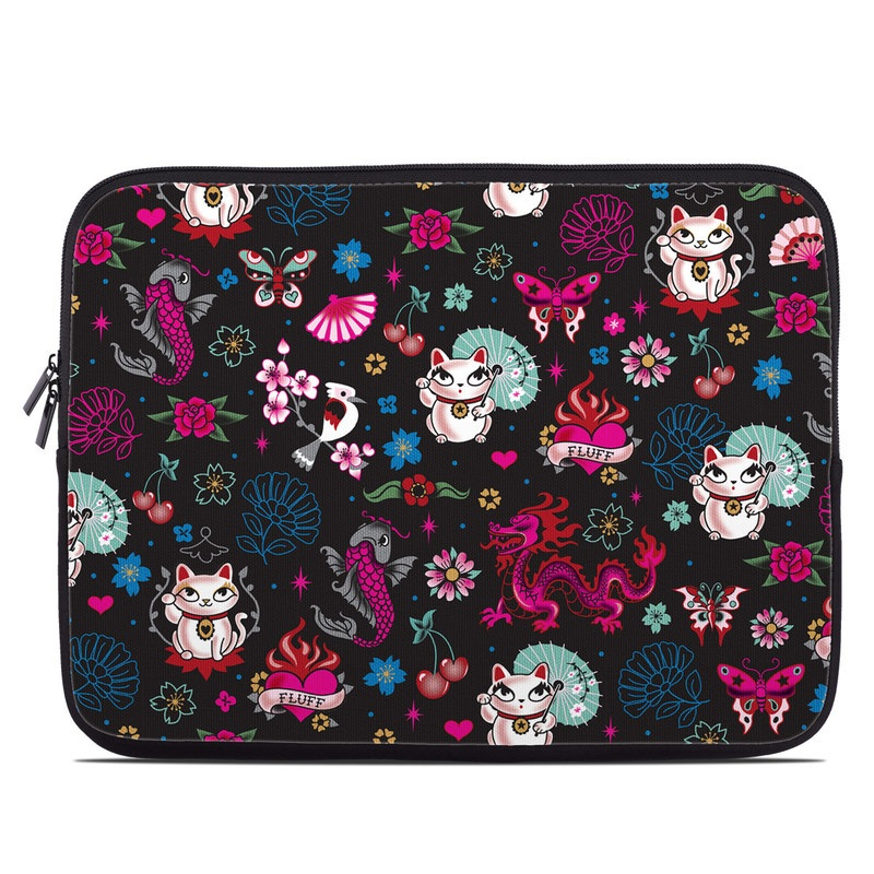 Laptop Sleeve design of Cartoon, Pink, Illustration, Pattern, Graphic design, Design, Font, Visual arts, Graphics, Art with black, gray, red, purple, pink, white colors