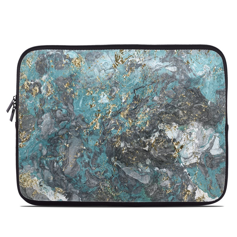 Laptop Sleeve design of Blue, Turquoise, Green, Aqua, Teal, Geology, Rock, Painting, Pattern with black, white, gray, green, blue colors