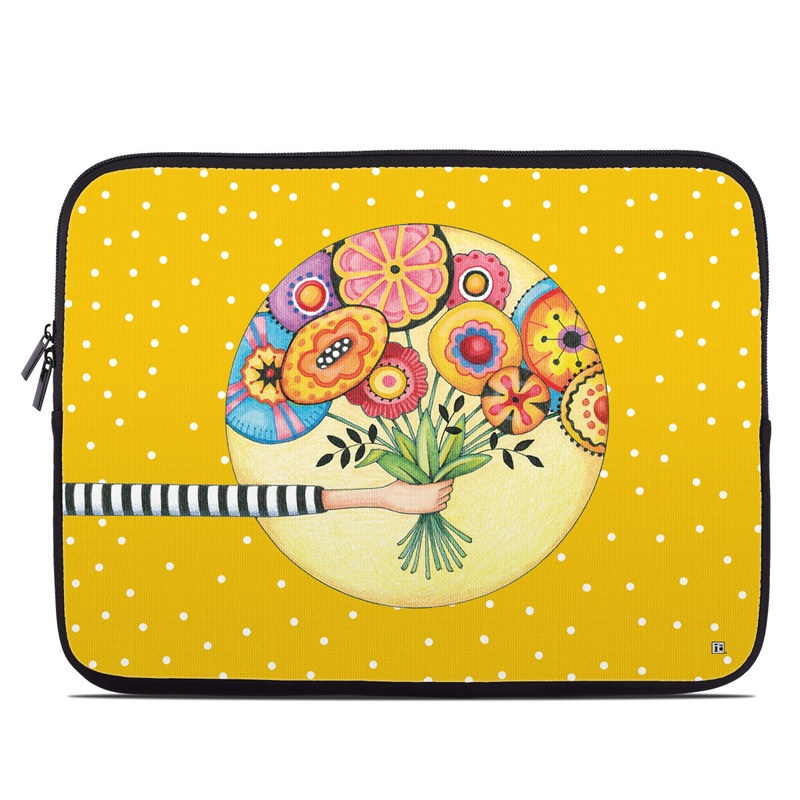 Laptop Sleeve design of Circle, Illustration, Clip art, Plant with orange, yellow, pink, gray, green, black colors