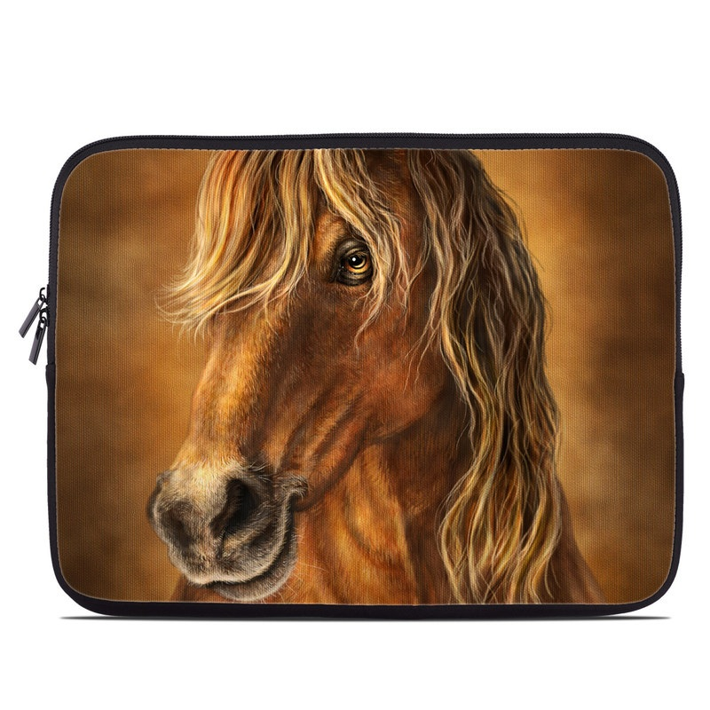 Laptop Sleeve design of Horse, Mammal, Vertebrate, Hair, Sorrel, Mane, Mustang horse, Stallion, Snout, Painting with yellow, brown, black, white colors