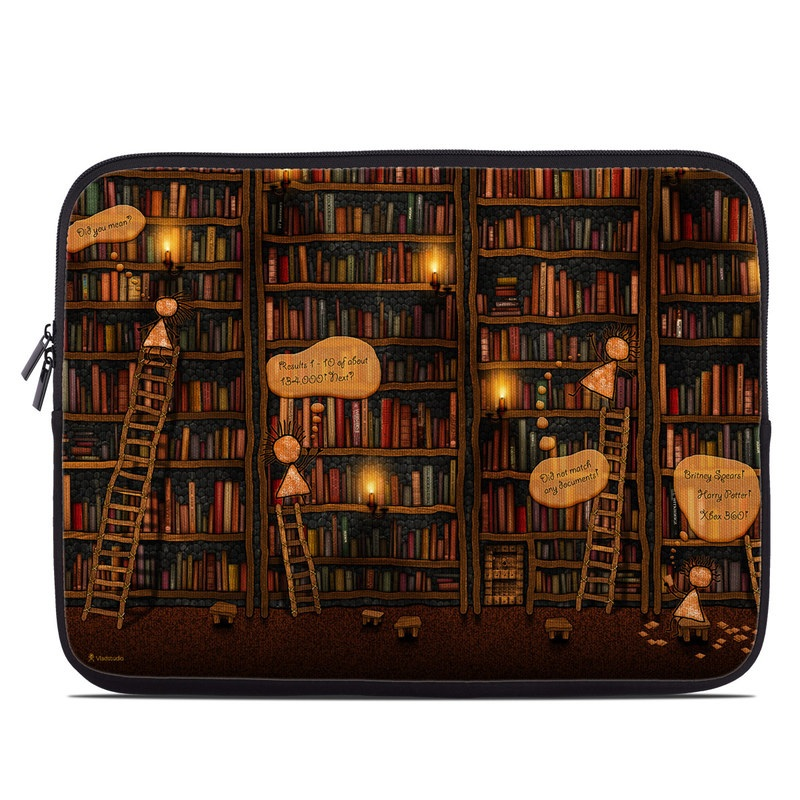 Laptop Sleeve design of Library, Bookcase, Shelving, Shelf, Book, Furniture, Building, Adventure game, Wood, Fiction with black, red colors