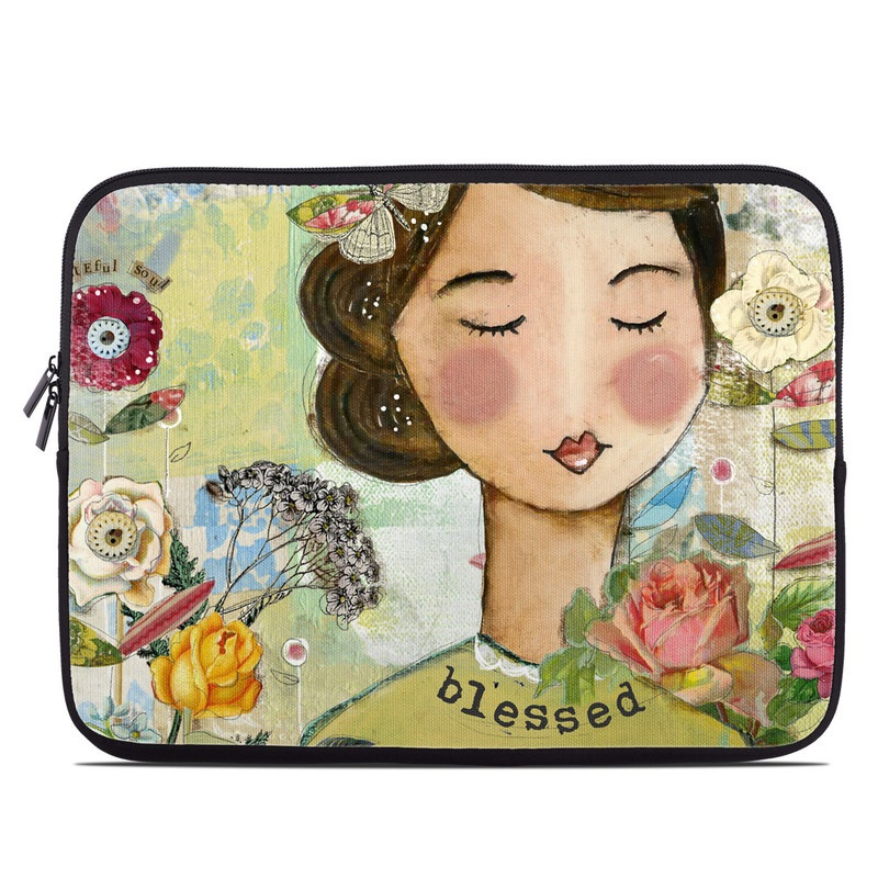 Laptop Sleeve design of Illustration, Cheek, Art, Watercolor paint, Retro style, Painting, Plant, Flower, Fashion illustration, Fictional character with pink, green, yellow, white, red, blue colors