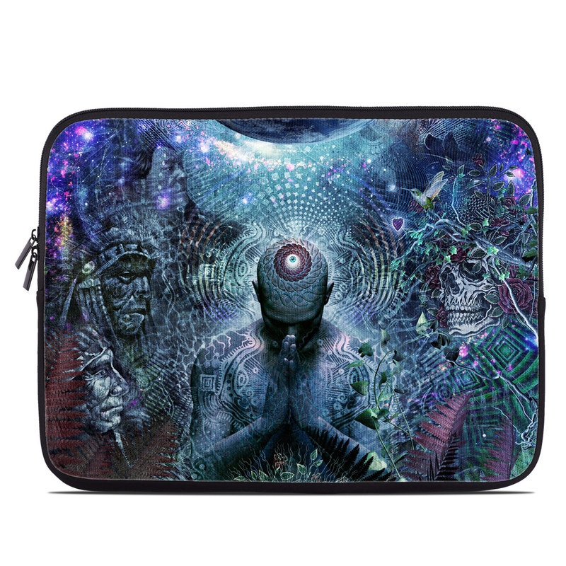 Laptop Sleeve design of Psychedelic art, Fractal art, Art, Space, Organism, Earth, Sphere, Graphic design, Circle, Graphics with blue, green, gray, purple, pink, black, white colors
