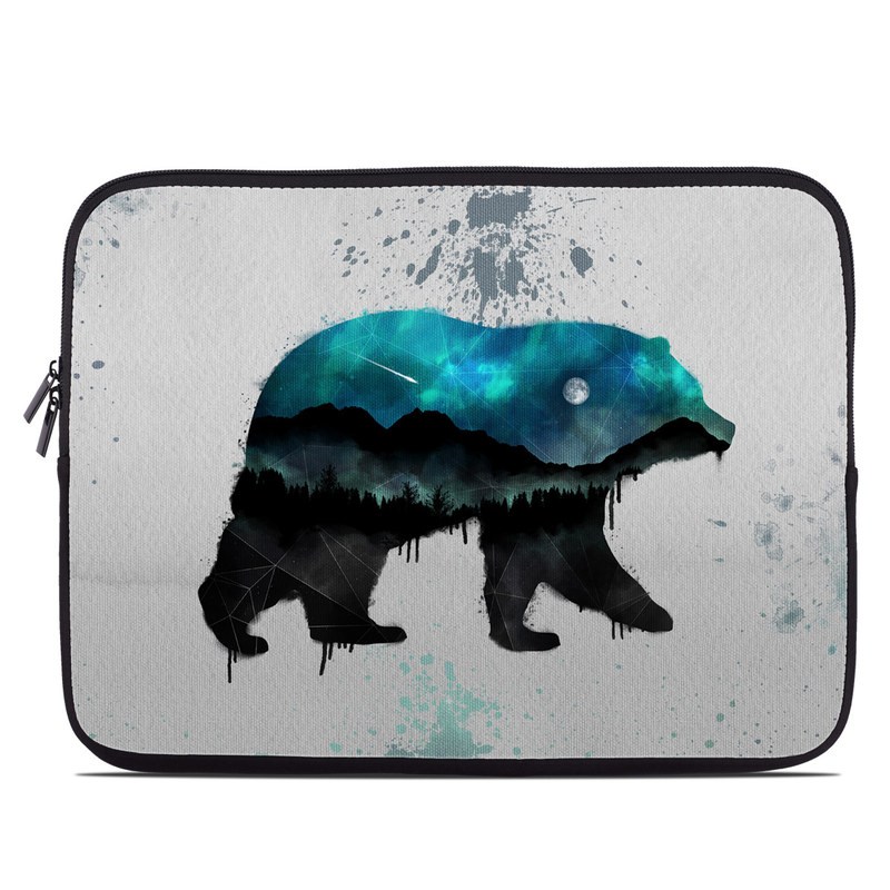 Laptop Sleeve design of Bear, Illustration, Grizzly bear, Art, Watercolor paint, Snout, Carnivore, Graphic design, Space, Polar bear with gray, black, white, green, blue colors