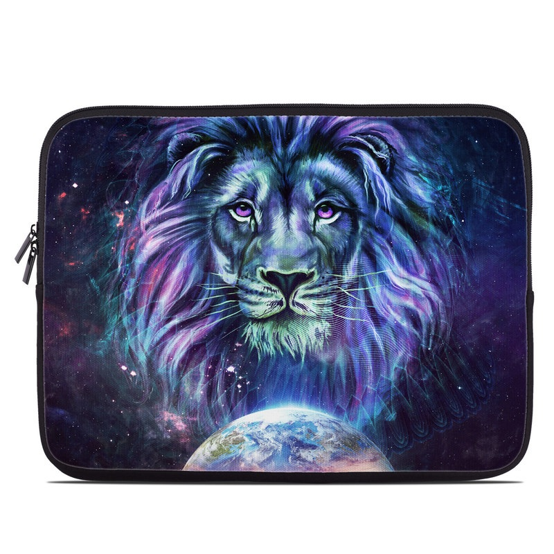 Laptop Sleeve design of Lion, Felidae, Purple, Wildlife, Big cats, Illustration, Darkness, Space, Painting, Art with purple, blue, green, black, white, red colors