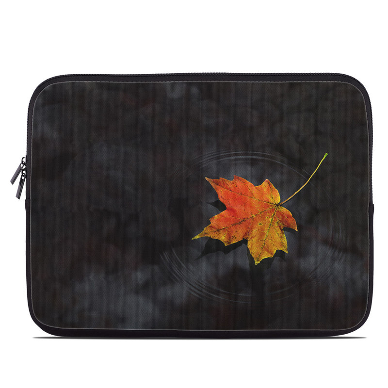 Laptop Sleeve design of Leaf, Maple leaf, Tree, Black maple, Sky, Yellow, Deciduous, Orange, Autumn, Red with black, red, green colors
