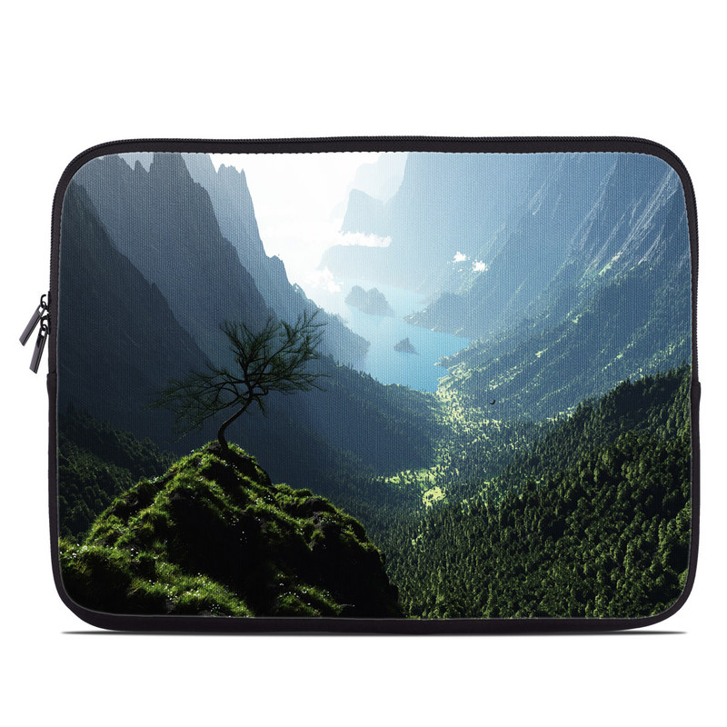 Laptop Sleeve design of Nature, Hill station, Natural landscape, Mountainous landforms, Vegetation, Nature reserve, Mountain, Highland, Jungle, Biome with black, gray, blue, white colors