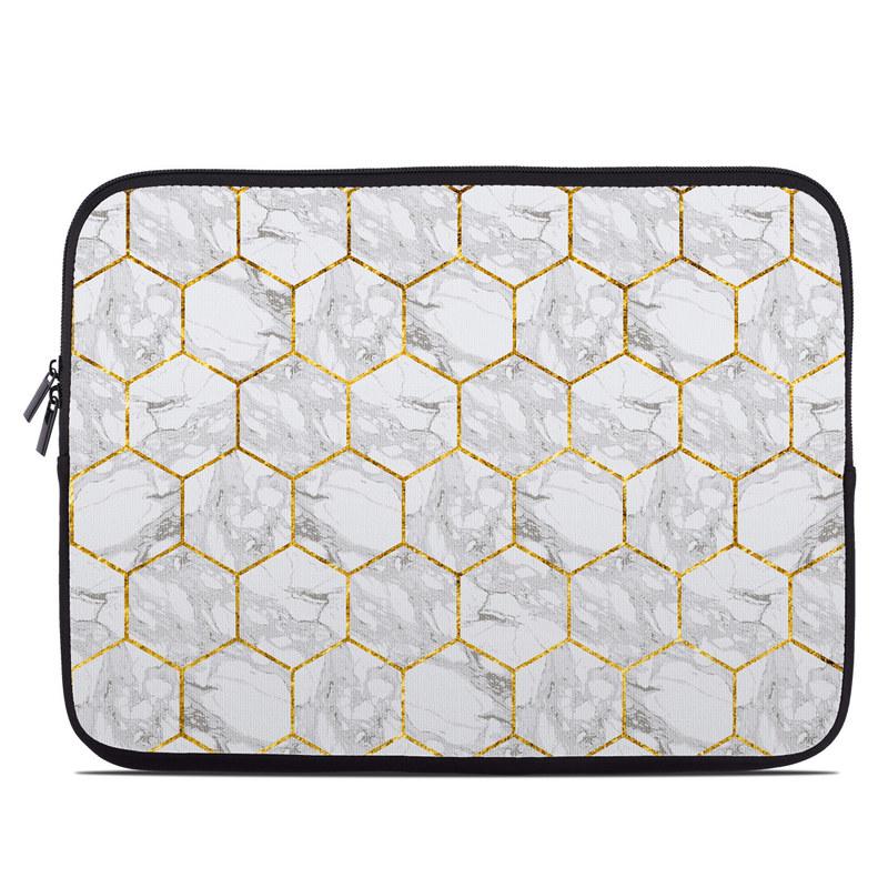 Laptop Sleeve design of Pattern, Tile flooring, Line, Tile, Design, Flooring, Floor with white, black, brown colors