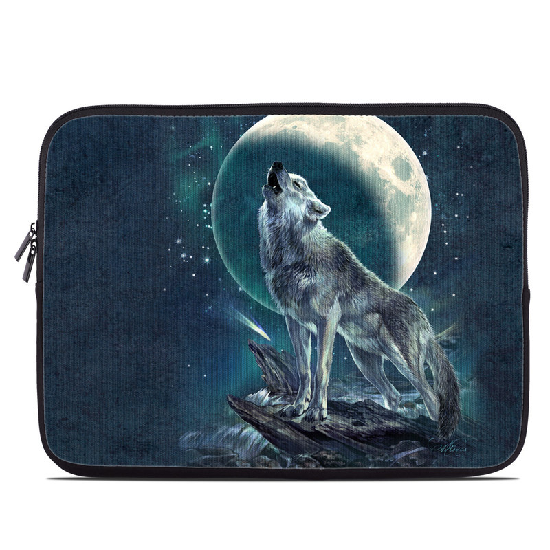 Laptop Sleeve design of Wolf, Red wolf, Canidae, Coyote, Moon, Canis, canis lupus tundrarum, Wildlife, Carnivore, Celestial event with black, gray, blue, yellow, pink colors