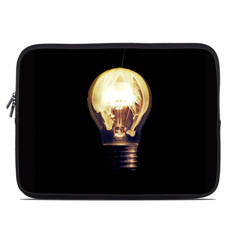 Laptop Sleeve design of Light bulb, Incandescent light bulb, Lighting, Light fixture, Lamp, Light, Lighting accessory, Facial hair, Ceiling fixture, Sphere with black, yellow, orange colors